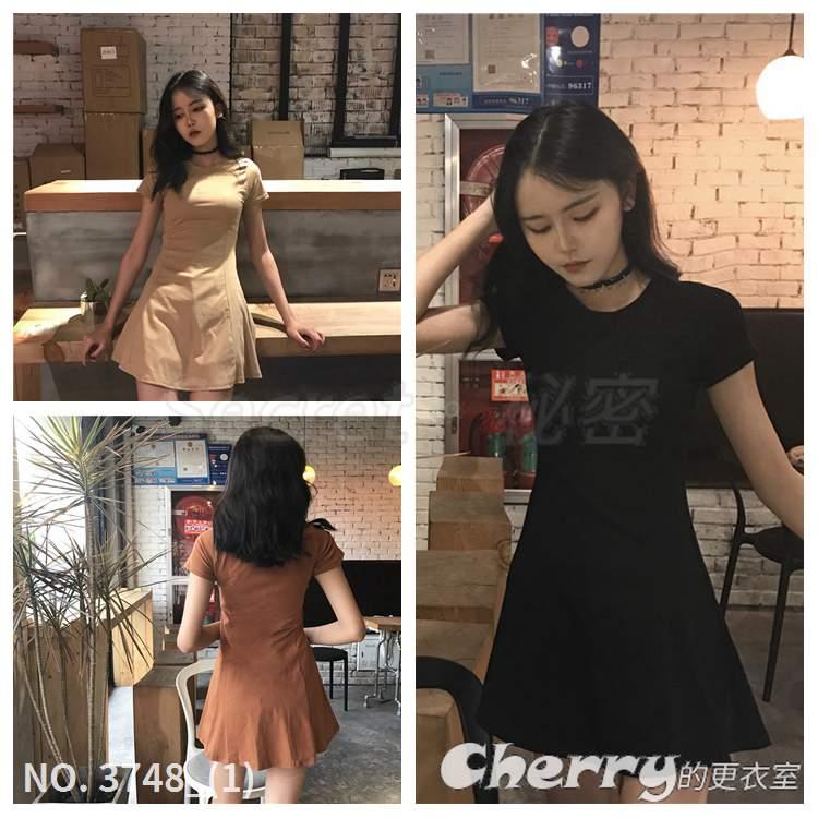圓領修身A字裙內搭打底高腰短裙顯瘦連身裙