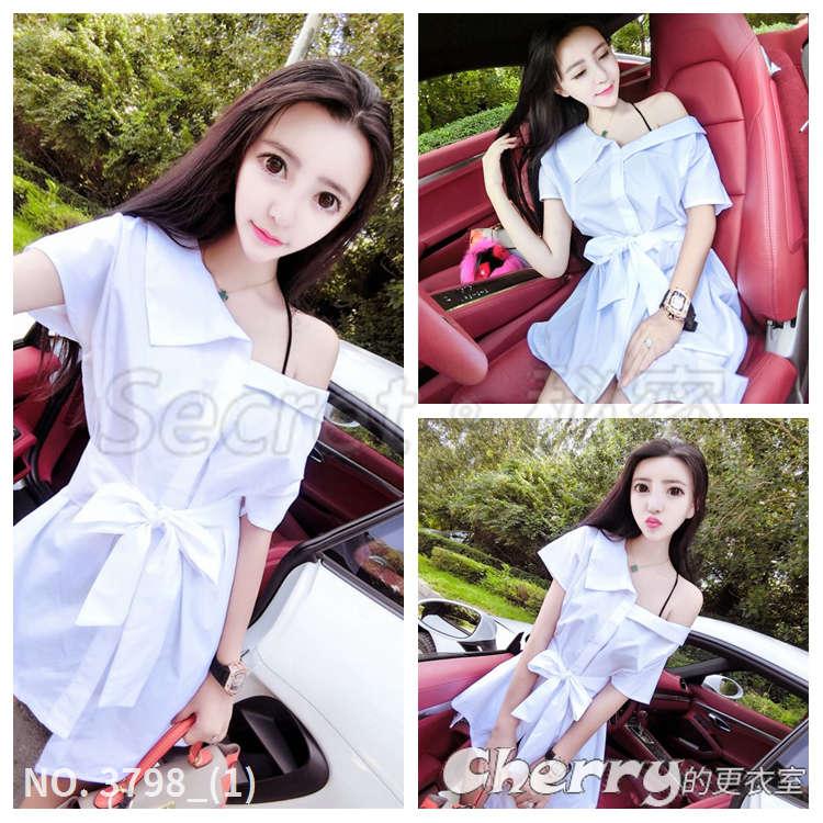 斜肩綁帶不規則顯瘦連身裙百搭氣質純色上衣繫帶短袖襯杉