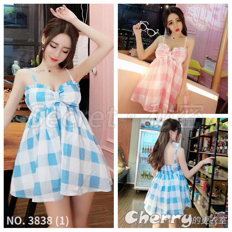 吊帶格紋高腰蓬蓬裙連身裙甜美可愛娃娃洋裝短裙