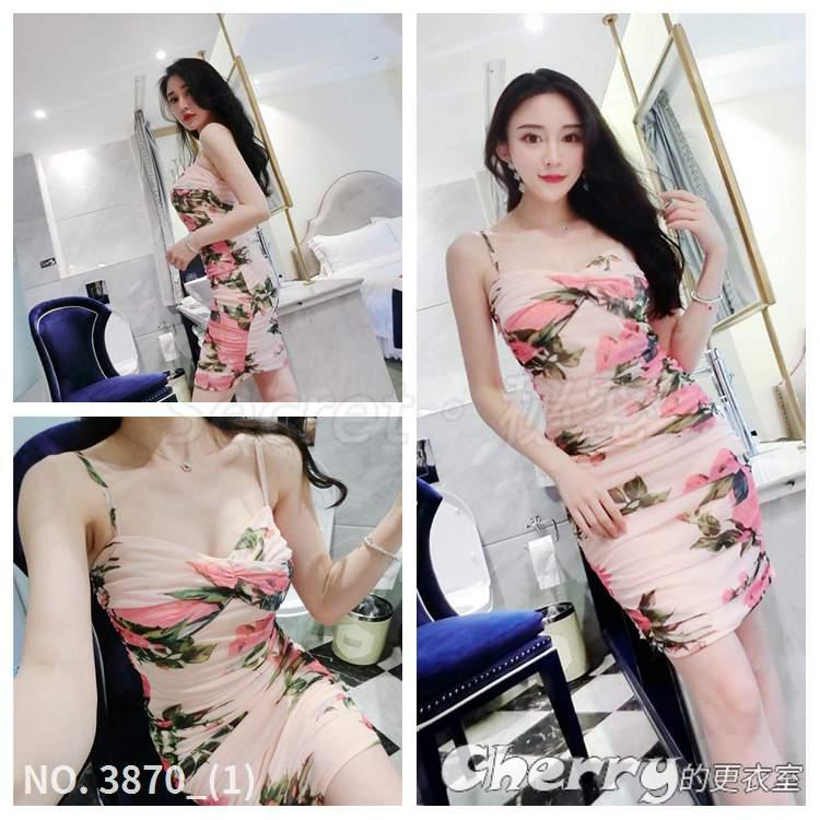 低胸無袖印花網紗緊身細肩帶包臀裙褶皺玫瑰花吊帶連身裙