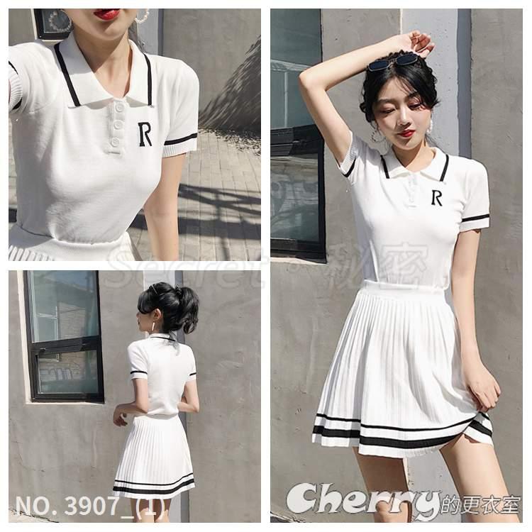 刺繡字母衫POLO領上衣針織短袖T恤+條紋百褶裙高腰半身裙套裝