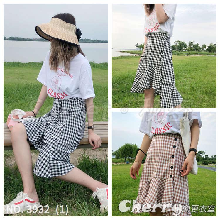 不規則高腰單排扣格子魚尾裙寬鬆休閒百搭半身裙