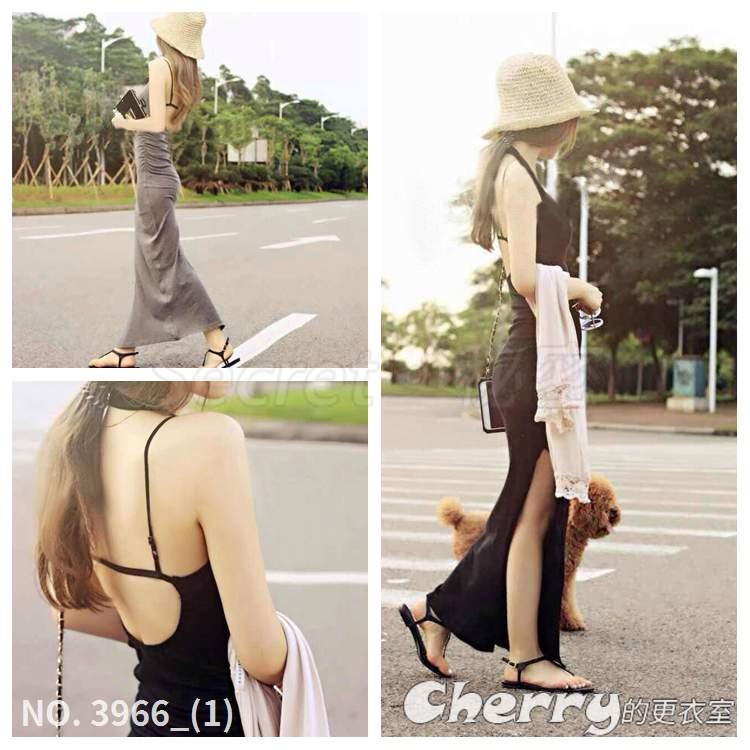 露背休閒長裙度假裙側邊開叉洋裝不規則裙鏤空長款連身裙