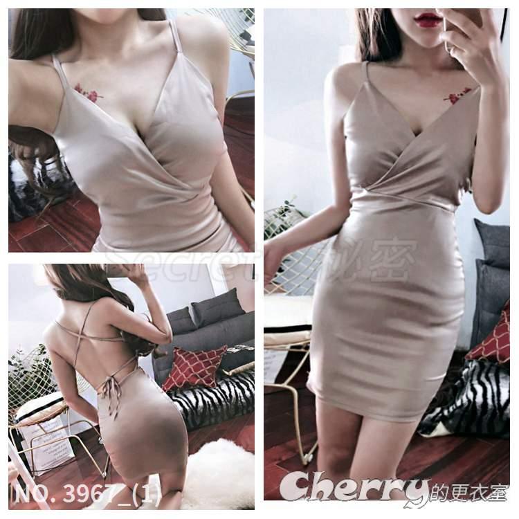 V領交叉綁帶包臀裙吊帶鉛筆裙露背細肩帶連身裙