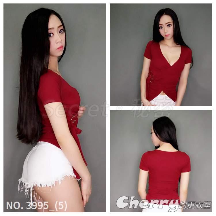 交叉綁帶深V上衣低胸收腰性感短袖百搭t恤