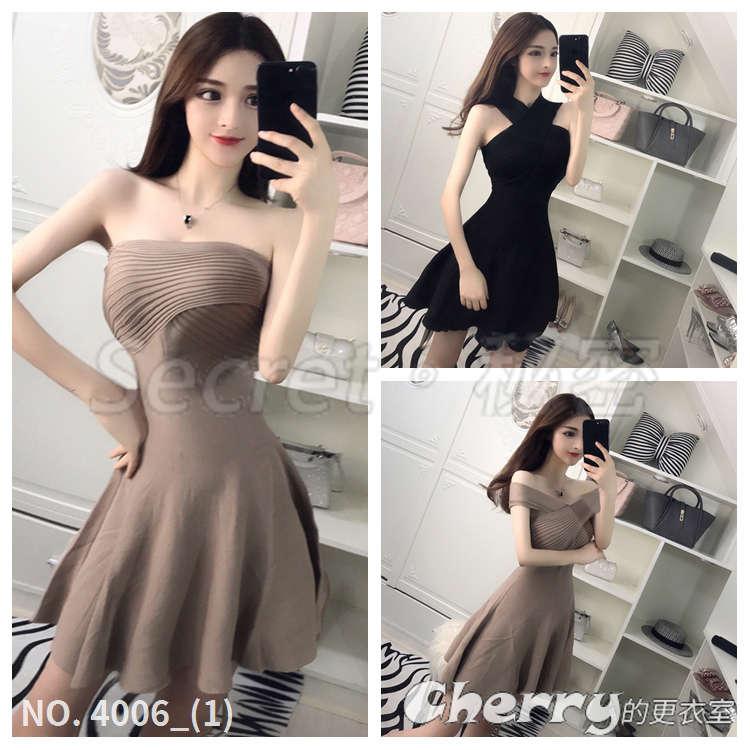 一字領多種穿法裙子露肩性感連身裙針織彈力抹胸顯瘦修身洋裝