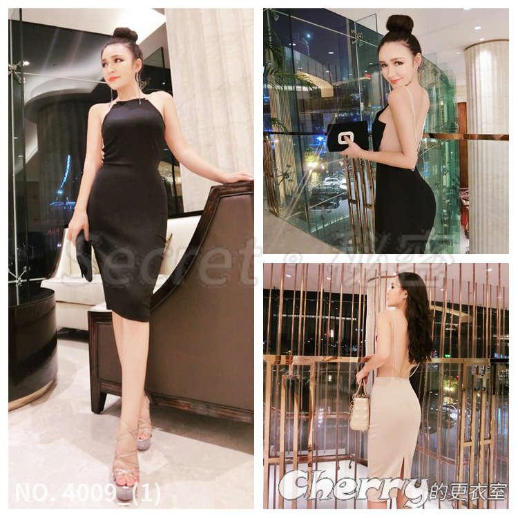 大露背性感高腰連身裙開叉氣質包臀緊身顯瘦洋裝