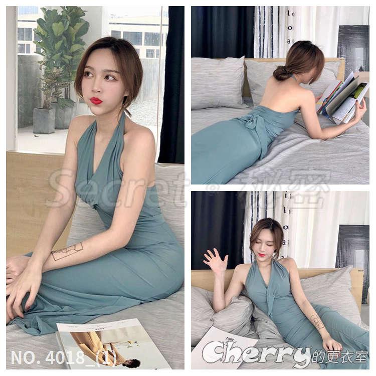 掛脖高腰綁帶連身裙復古修身顯瘦藍灰色晚禮服洋裝