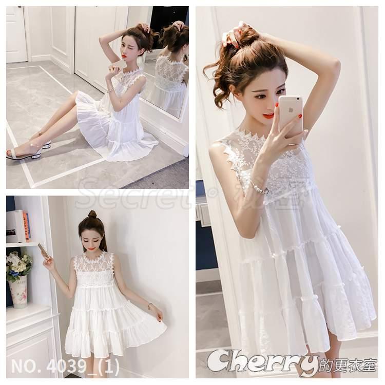 圓領小清新洋裝約會拼接連身裙甜美無袖蕾絲背心裙