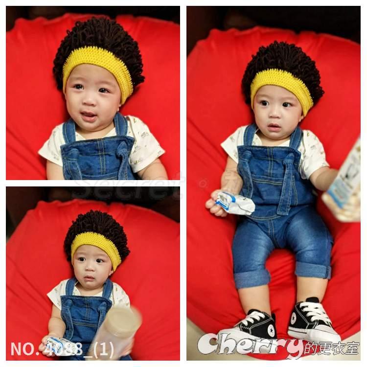 兒童可愛手工毛線帽子爆炸頭男女寶寶搞笑假髮帽