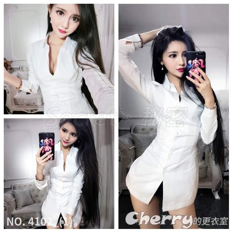 深V領襯衫裙長袖禮服低胸洋裝包臀裙收腰連身裙