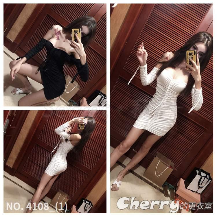 一字領洋裝低胸短裙長袖鉛筆裙緊身禮服褶皺包臀裙抽褶連身裙