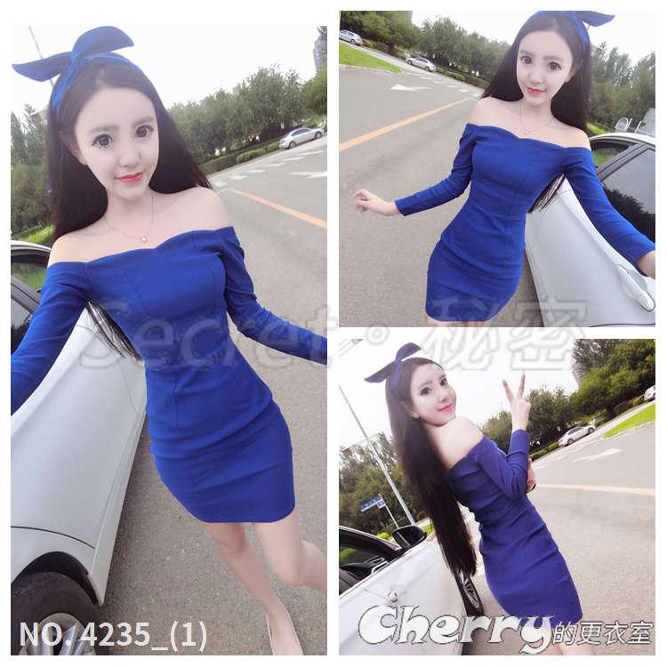 一字領性感連身裙長袖顯瘦打底裙洋裝