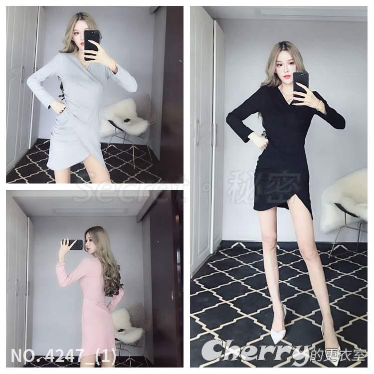 V領不規則洋裝斜邊禮服荷葉袖包臀裙長袖螺紋連身裙