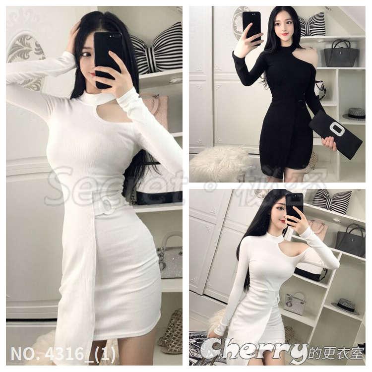 不規則包臀名媛風洋裝單邊露肩氣質繞脖式純色打底連衣裙