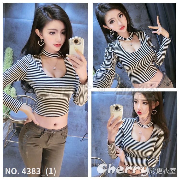 黑白條紋V領低胸露臍性感短款T恤高腰繞脖長袖上衣