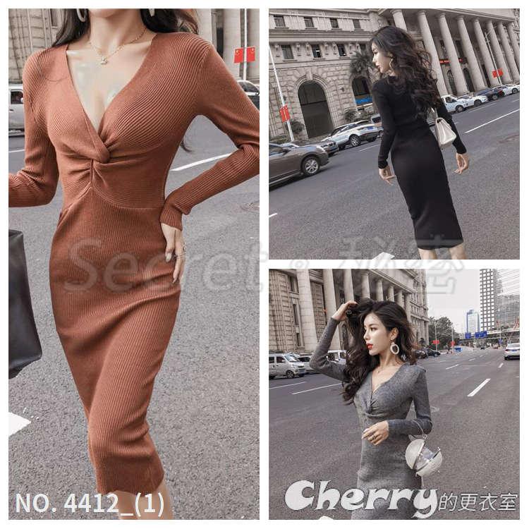 V領性感針織連身裙氣質顯瘦百搭打底裙洋裝禮服