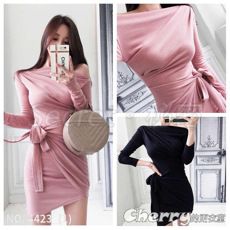 氣質斜肩抽褶包臀針織連身裙長袖顯瘦打底洋裝禮服