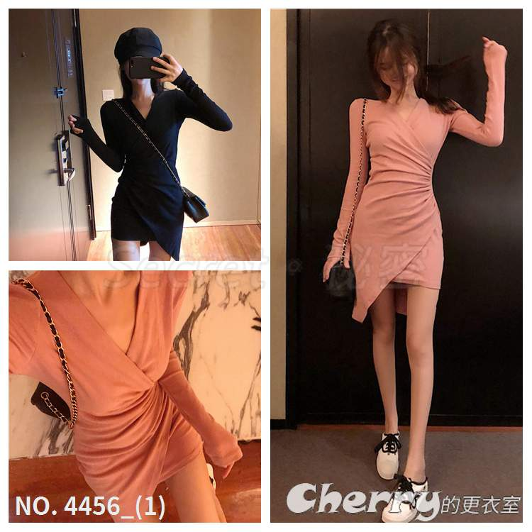V領不規則長袖連身裙修身禮服包臀裙顯瘦洋裝