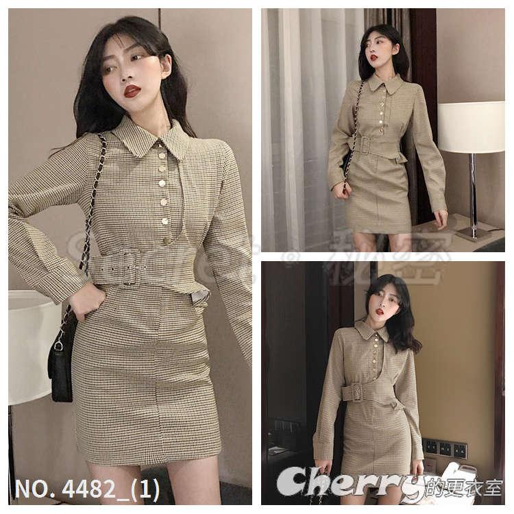 復古格紋翻領時髦收腰連身裙長袖高腰顯瘦洋裝禮服