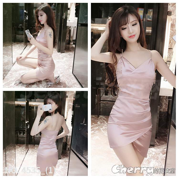 V領鏤空修身包臀裙吊帶低胸洋裝夜店裝不規則禮服細肩帶露背顯瘦連身裙