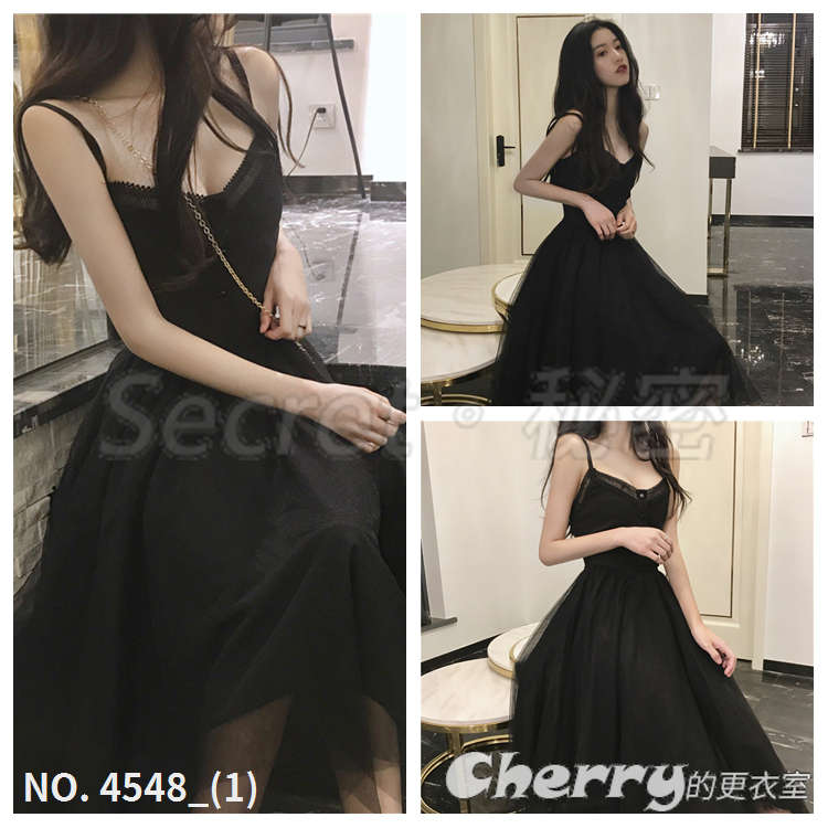 V領吊帶復古蕾絲拼接連身裙A字洋裝禮服小黑裙