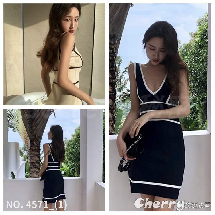 V領撞色短裙條紋包臀裙無袖修身洋裝冰絲拼接禮服針織連身裙