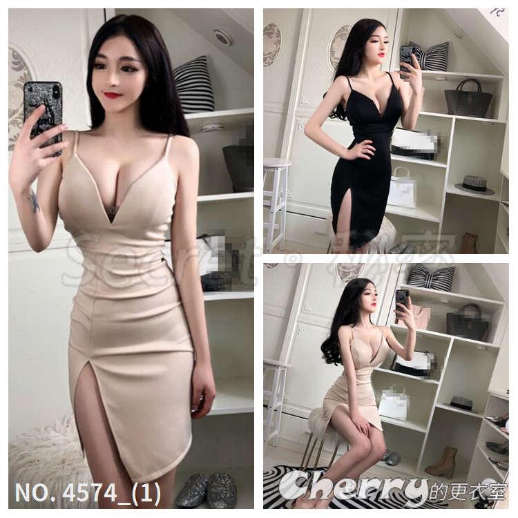 V領不規則斜邊高腰連身裙吊帶顯瘦洋裝禮服