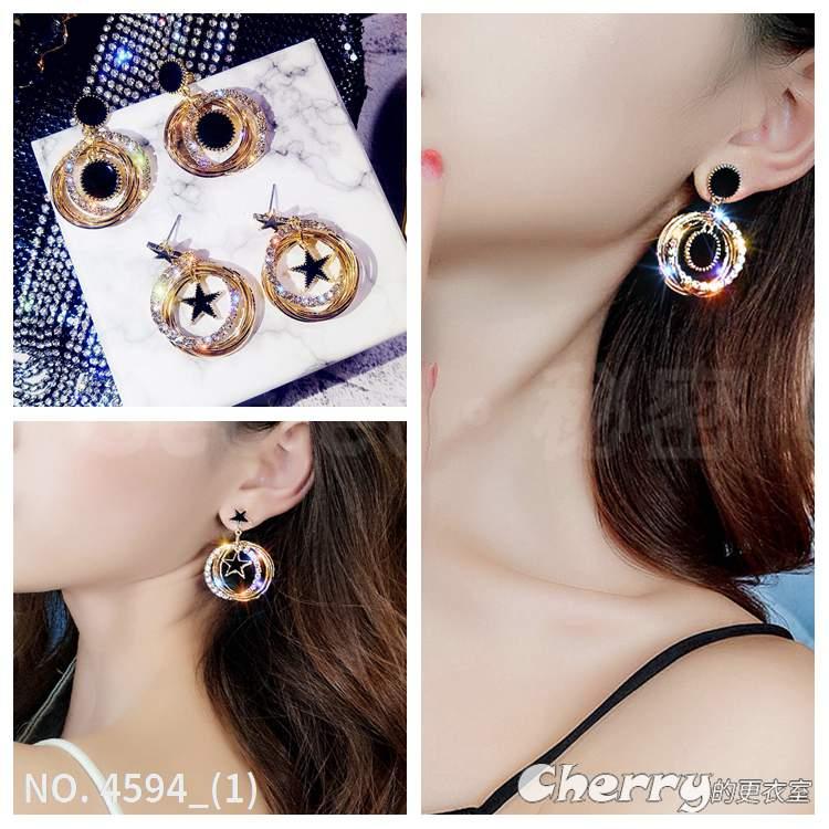 925銀針星星耳環多層閃鑽耳釘水鑽耳墜金屬圓圈飾品