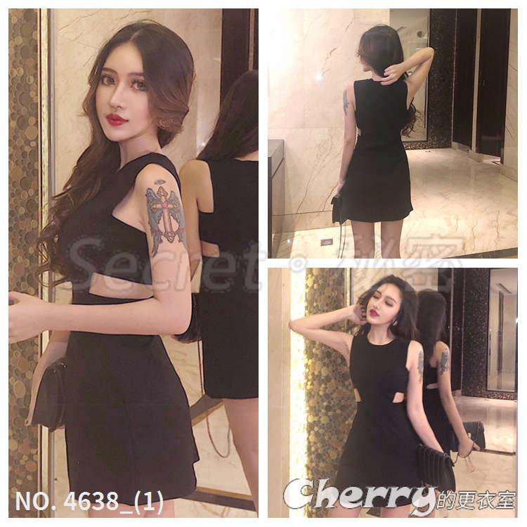 性感鏤空無袖露腰連身裙黑色顯瘦小洋裝短裙禮服