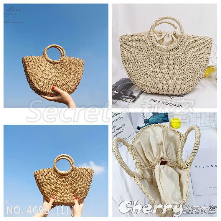 海邊渡假草編手工手提包沙灘編織包藤編包度假包草包