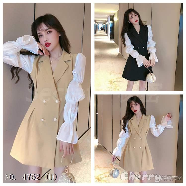 氣質v領泡泡袖西裝連身裙長袖高腰套頭洋裝禮服