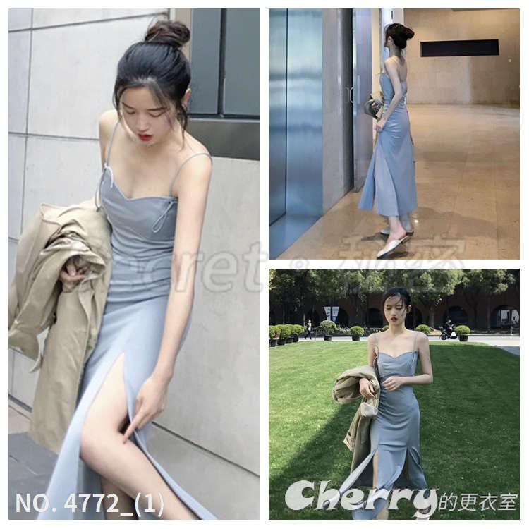復古開叉吊帶洋裝顯瘦長裙禮服連身裙