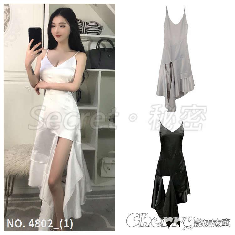 V領不規則吊帶白色洋裝度假開叉顯瘦禮服連身裙長裙