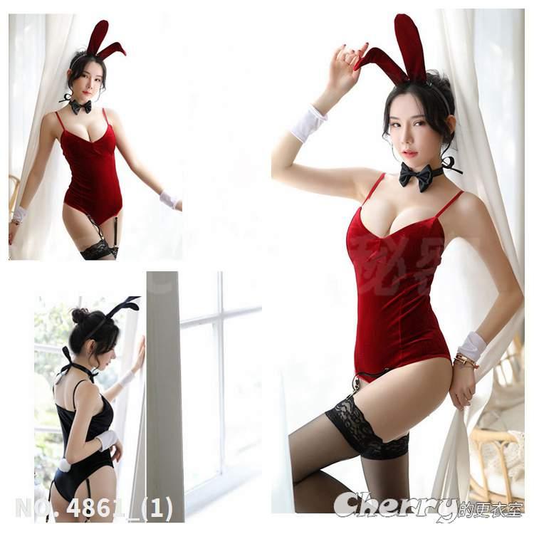 COSPLAY兔女郎情趣內衣變裝派對性感吊帶襪角色扮演五件套裝