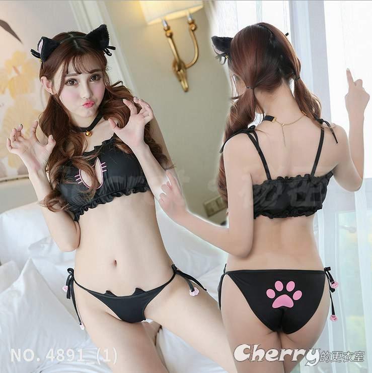 貓咪內衣鏤空死庫水小惡魔角色扮演刺繡cosplay情趣可愛喵喵套裝