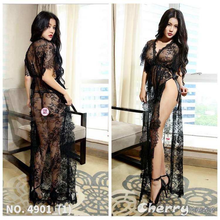 蕾絲高雅貴婦COSPLAY罩衫長款開叉黑色睫毛角色扮演花邊情趣內衣連身睡裙