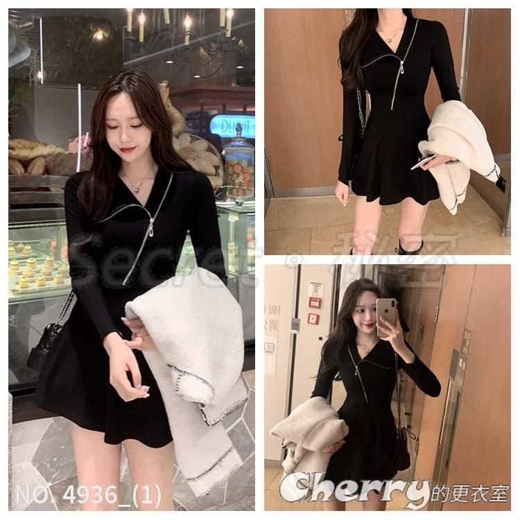 休閒斜領拉鏈設計感收腰洋裝不規則打底長袖顯瘦A字裙小黑裙禮服連身裙