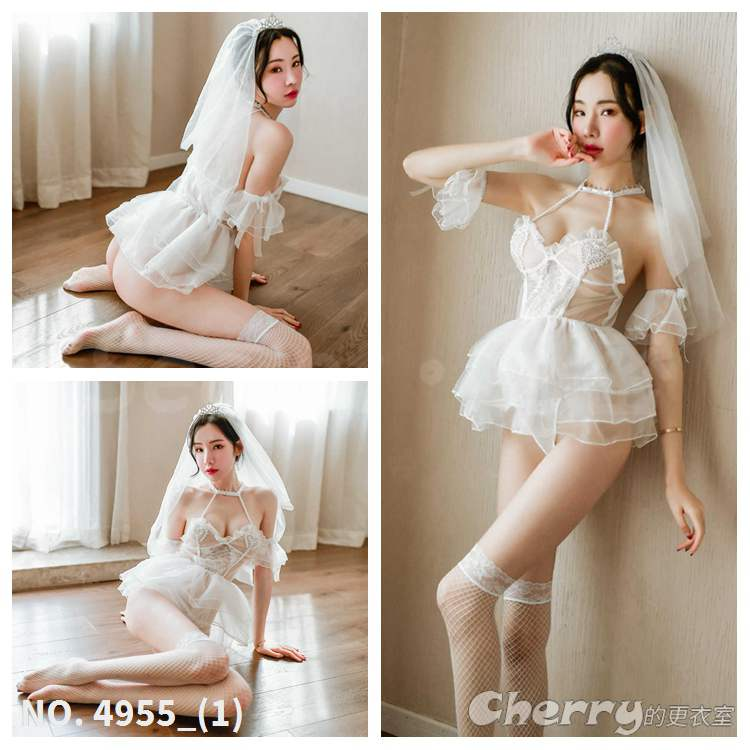 性感新娘幻想繞頸禮服誘惑睡衣角色扮演透明COSPLAY酒店外拍夜店情趣變裝內衣派對白色蕾絲裸婚紗套裝