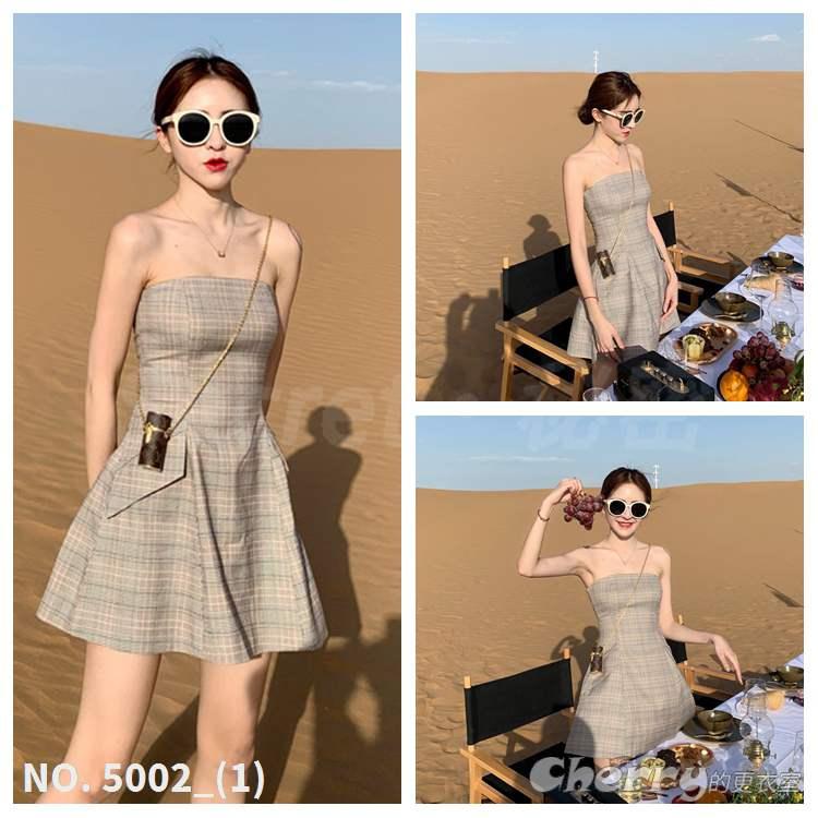 氣質露肩格子連身裙高腰平口顯瘦洋裝禮服A字短裙