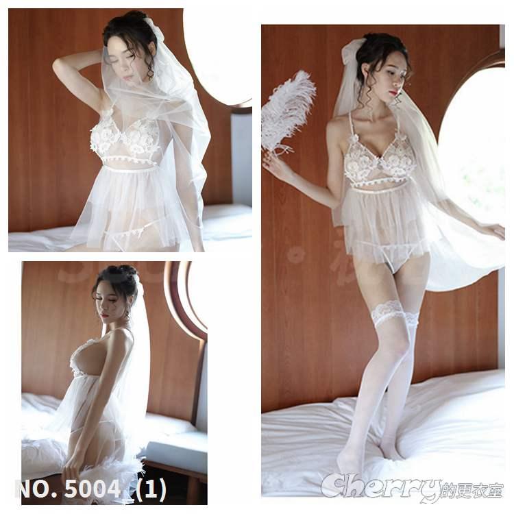 透視新娘薄紗酒店幻想禮服睡衣角色扮演透明COSPLAY外拍夜店情趣變裝內衣派對白色蕾性感絲裸婚紗套裝