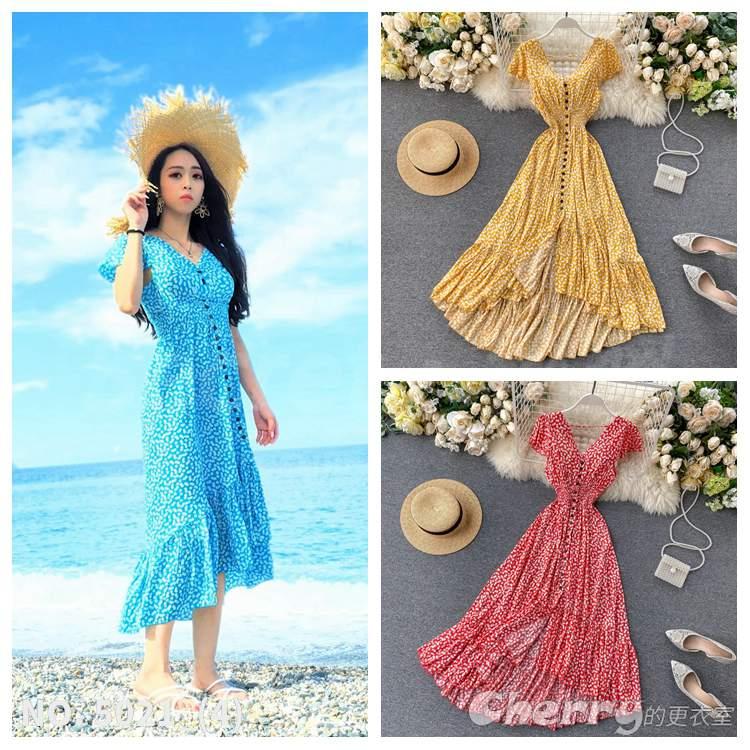 性感露背波西米亞度假洋裝禮服甜美沙灘連身裙