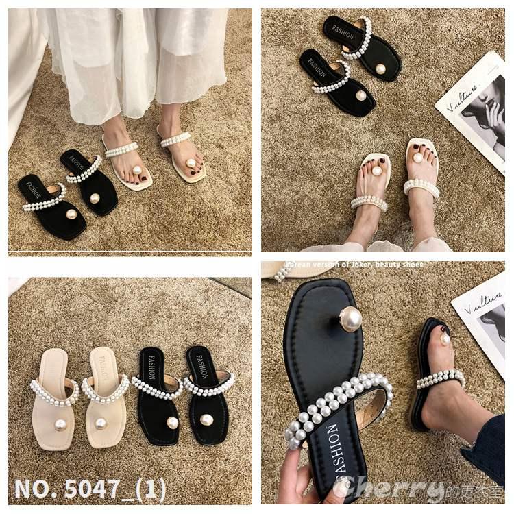 珍珠夾腳涼鞋防滑外穿人字拖鞋沙灘鞋度假休閒鞋