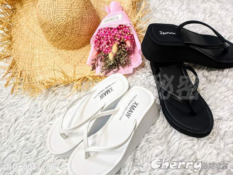 夏日必備超美人字拖高跟中跟夾腳厚底拖鞋沙灘防滑海邊坡跟涼拖鞋