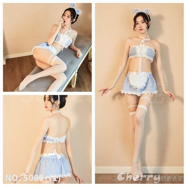 蕾絲格子女傭外拍女僕角色扮演制服舞會派對鈴鐺直播主人陪侍酒店夜店套裝