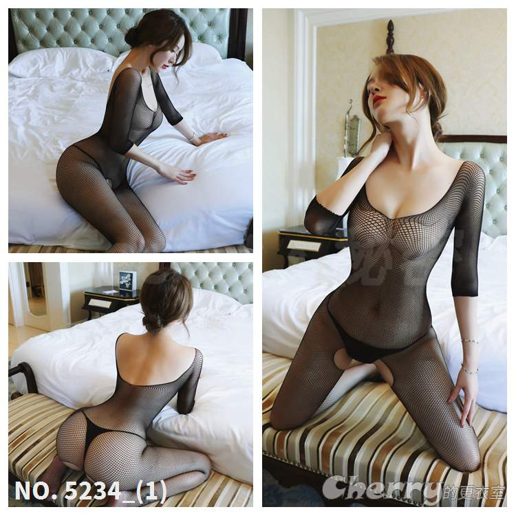 U領情趣酒店內衣低胸性感夜店誘惑露胸露背外拍開檔高端網襪角色扮演絲襪睡衣撩舞會派對連身網衣