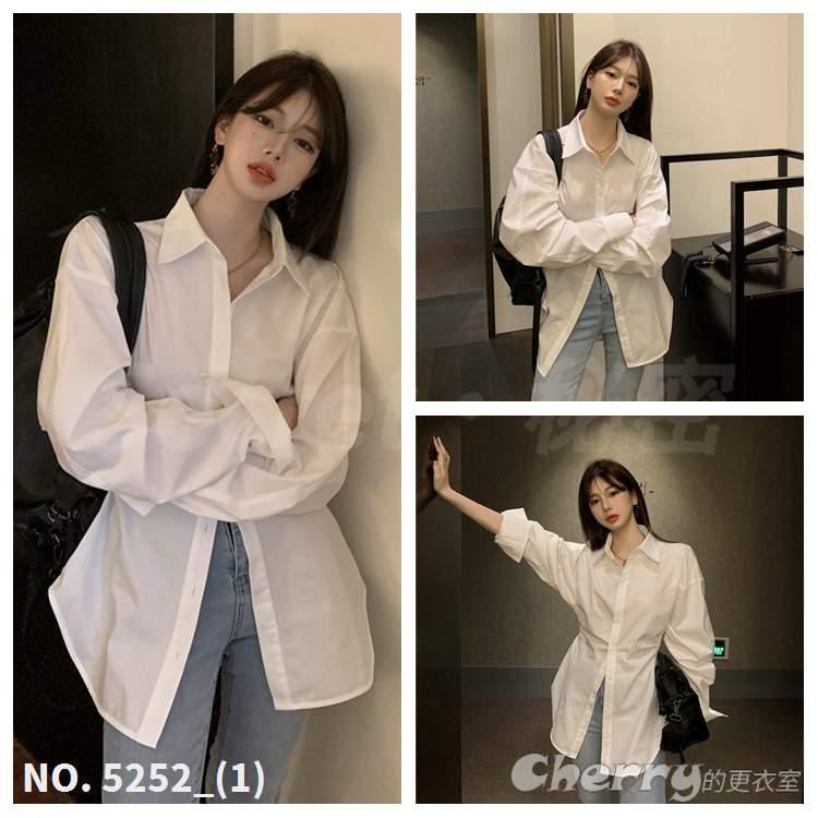 收腰襯衫設計感小眾襯衣寬鬆中長款白色長袖T恤上衣