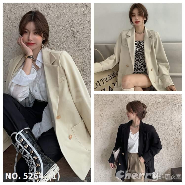 氣質翻領西裝外套設計感雙排釦休閒衣服外套網紅派對情人節約會抖音學生OL風外套