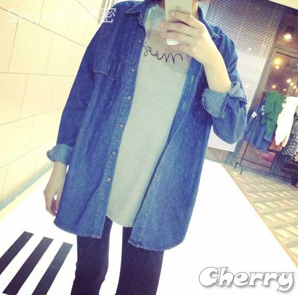 韓版牛仔布寬鬆風衣外套罩衫