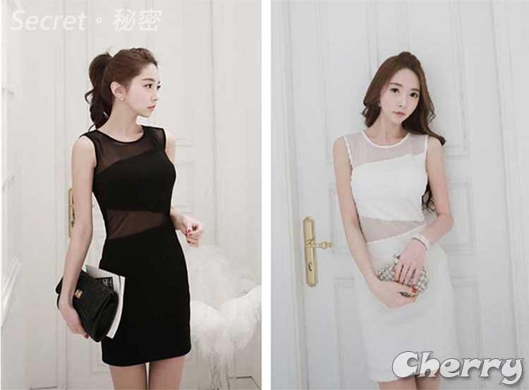 韓版夜店性感透視網紗包臀緊身連身裙